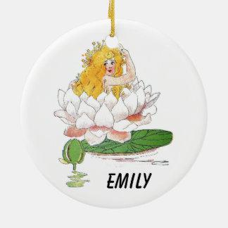 Fille féerique florale mignonne d'enfant de fleur ornement rond en céramique
