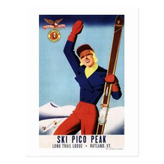 Fille flexible de ski de Pin- d'insecte Carte Postale