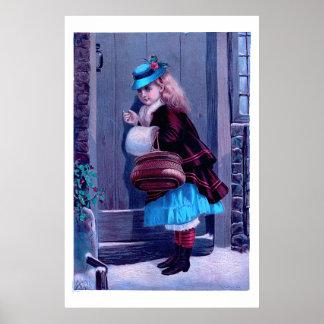 Fille frappant à la peinture vintage de porte affiches