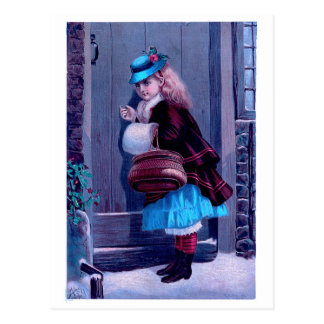 Fille frappant à la peinture vintage de porte carte postale