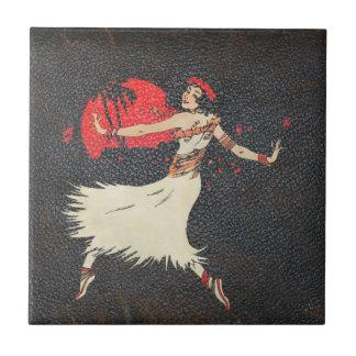 Fille hawaïenne vintage du danseur   de danse petit carreau carré