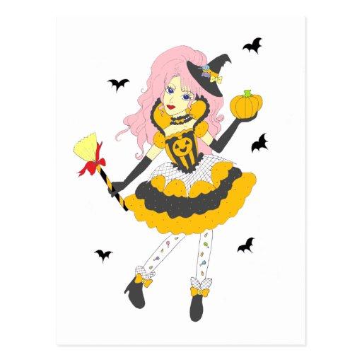 Fille heureuse de citrouille de Halloween Cartes Postales
