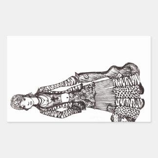 Fille hippie avec des produits de coutume d art de sticker rectangulaire