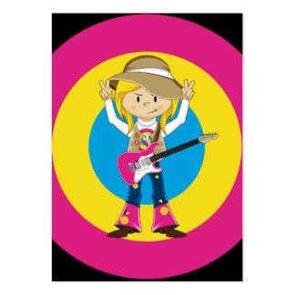 Fille hippie avec la guitare carte de visite grand format