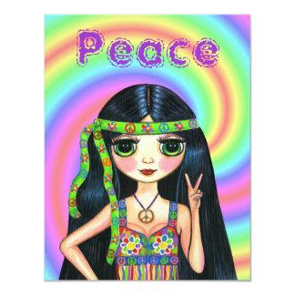 fille hippie de signe de paix des années 1960 avec carton d'invitation 10,79 cm x 13,97 cm