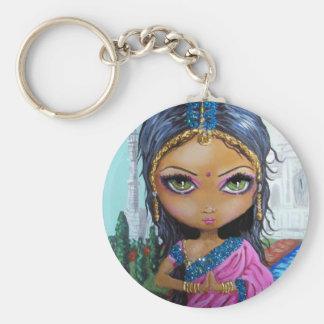 fille indienne de sari porte-clé rond