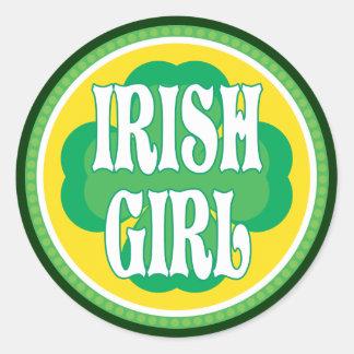 Fille irlandaise adhésif rond