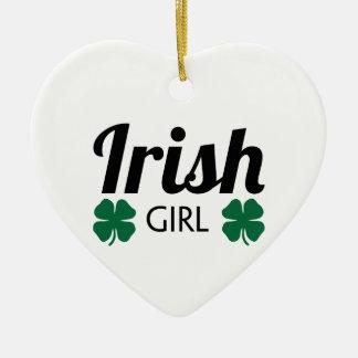 Fille irlandaise ornement cœur en céramique