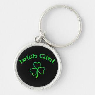 Fille irlandaise porte-clé rond argenté