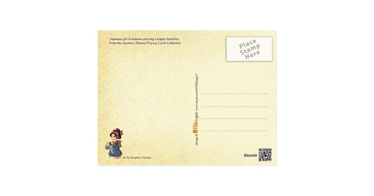 fille japonaise dans le kimono portant une th i re carte postale zazzle. Black Bedroom Furniture Sets. Home Design Ideas