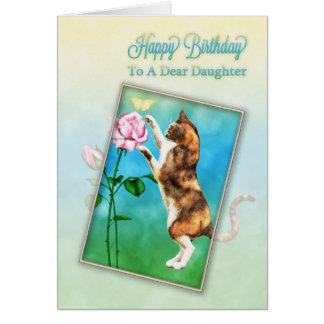 Fille, joyeux anniversaire avec un chat espiègle carte de vœux