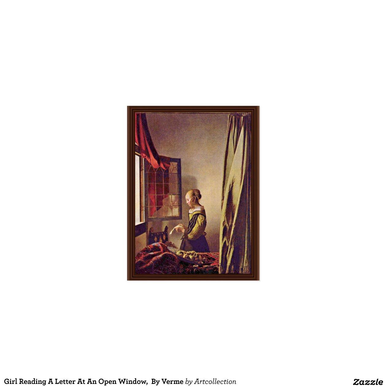 Fille lisant une lettre une fen tre ouverte par cartes for Une fenetre ouverte