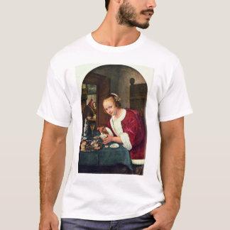Fille mangeant des huîtres., chambre t-shirt