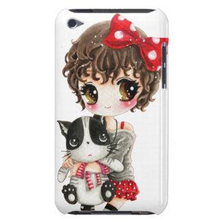 Fille mignonne avec le chat noir de kawaii étui barely there iPod