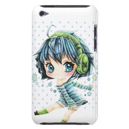 Fille mignonne d'anime avec l'écouteur vert coque iPod touch