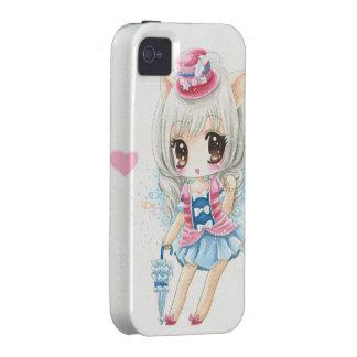 Fille mignonne de chat d'anime étui iPhone 4