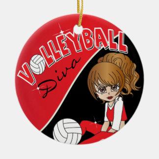 Fille mignonne de diva de volleyball en rouge ornement rond en céramique