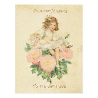 Fille mignonne de Saint-Valentin assez de rose vin Carte Postale