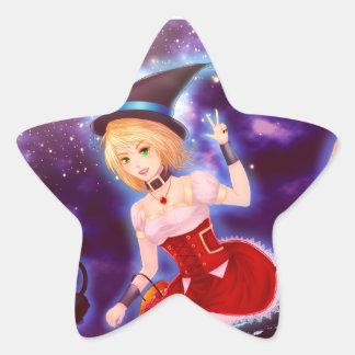 Fille mignonne de sorcière d'anime avec des chats sticker en étoile
