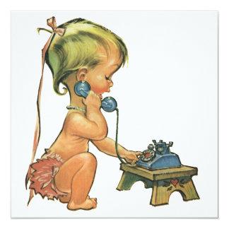 Fille mignonne d'enfant vintage à l'invitation de carton d'invitation  13,33 cm