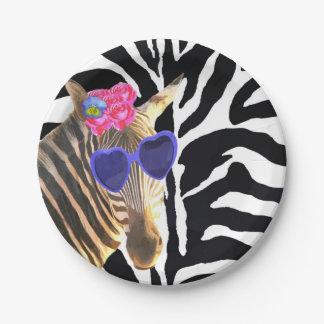 Fille moderne de mode animale de jungle de zèbre assiettes en papier