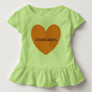 Fille orange personnalisée adorable d'enfant en t-shirt pour les tous petits