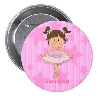 Fille rose mignonne de ballet sur la bannière badge