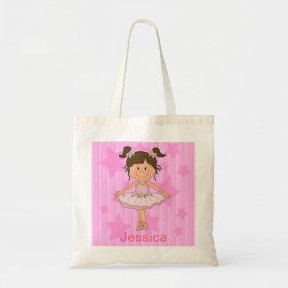Fille rose mignonne de ballet sur la bannière sacs en toile
