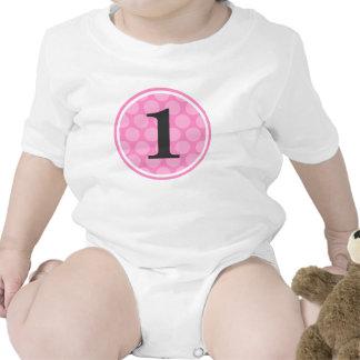 Fille rose moderne numéro 1 d'anniversaire de poin t-shirt