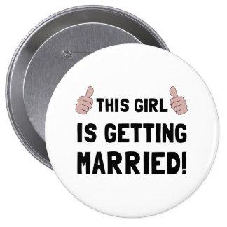Fille se mariant badge rond 10 cm