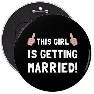 Fille se mariant badge rond 15,2 cm
