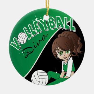 Fille sportive de diva de volleyball dans ornement rond en céramique