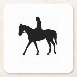 Fille sur le cheval dessous-de-verre carré en papier
