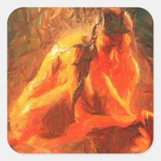 Fille sur le feu - art passionné du feu sticker carré