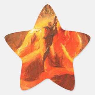 Fille sur le feu - art passionné du feu sticker étoile
