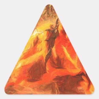 Fille sur le feu - art passionné du feu sticker triangulaire