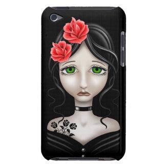 Fille triste avec les roses rouges sur le noir étuis iPod touch