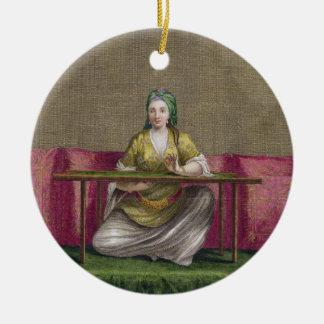 Fille turque, brodant, XVIIIème siècle (engravin Ornement Rond En Céramique