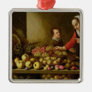 Fille vendant des raisins ornement carré argenté