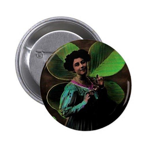Fille victorienne de shamrock du jour vintage de S Pin's