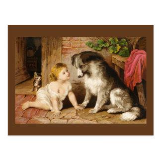 Fille victorienne et son chien cartes postales