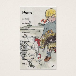 Fille vintage adorable avec des poulets cartes de visite