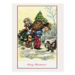 Fille vintage, arbre de Noël de garçon Carte Postale