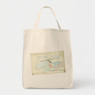 Fille vintage de carte postale pataugeant dans sacs de toile