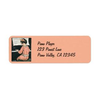 Fille vintage de musique de piano par Jessie Étiquettes D'adresse Retour