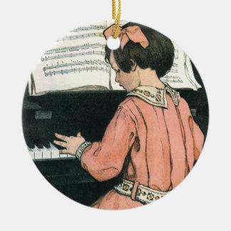 Fille vintage de musique de piano par Jessie Ornement Rond En Céramique