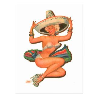 """Fille vintage de Pin- """"de Salsa chaud"""" de kitsch Carte Postale"""