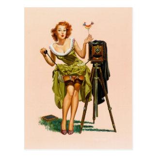 Fille vintage de pin-up d'appareil-photo cartes postales