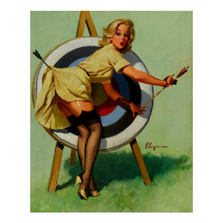 Fille vintage de pin-up de tir à l'arc de cible de poster
