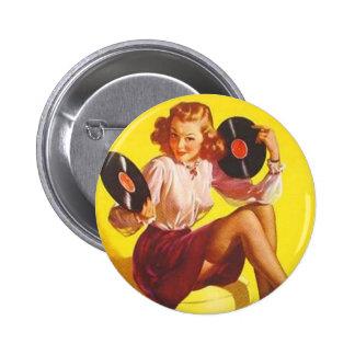 Fille vintage de vinyle pin's